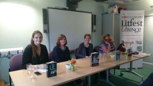 left to right: Me, Sarah Hilary, Clare Mackintosh, Alex Marwood