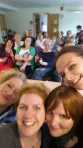 An 'Ellen' style selfie. Left to right: Alex Marwood, Clare Mackintosh, Sarah Hilary, Me.