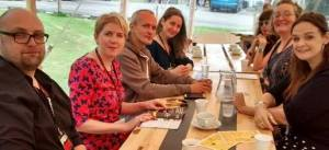 Hanging out with fellow crime writers (left to right): Steven Cavanagh, Clare Macintosh, Graeme Cameron, Claire Kendall, Elizabeth Haynes and me.