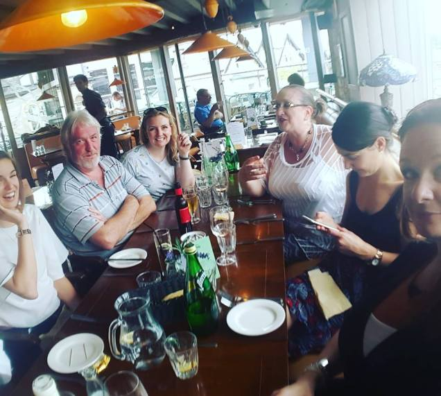 Lunch with my publisher. Helen Huthwaite (my editor), Paul Finch, Angela Clarke, Cath Finch, Kate Stevenson editor, me.